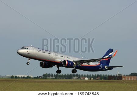 Amsterdam the Netherlands - June 2nd 2017: VP-BKI Aeroflot - Russian Airlines Airbus A321 taking off from Polderbaan Runway Amsterdam Airport Schiphol