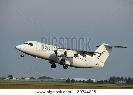 Amsterdam the Netherlands - June 2nd 2017:EI-RJI Cityjet British Aerospace Avro RJ85 taking off from Polderbaan Runway Amsterdam Airport Schiphol