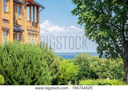 Big wooden country house. Mejigorye. Frame Honka