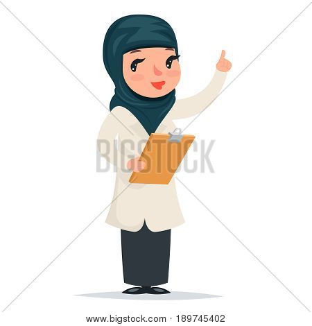 Female Girl Cute Arab Doctor with Clipboard in Hands Forefinger Advice Preaching Admonition Character Isolated Icon Medic Retro Cartoon Design Vector Illustration