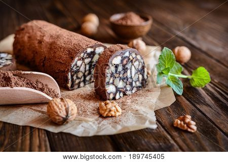 Chocolate Salami - Traditional Dessert With Walnut And Biscuits
