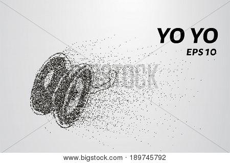 Yo Yo Of The Particles. Yo Yo Consists Of Small Circles And Dots. Vector Illustration.
