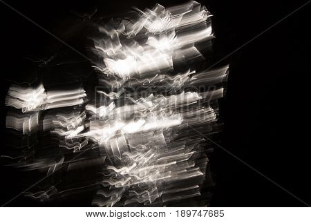 Chaotic Background With Radial Directions Of Light Streaks In Blue And White For Concept About Movem