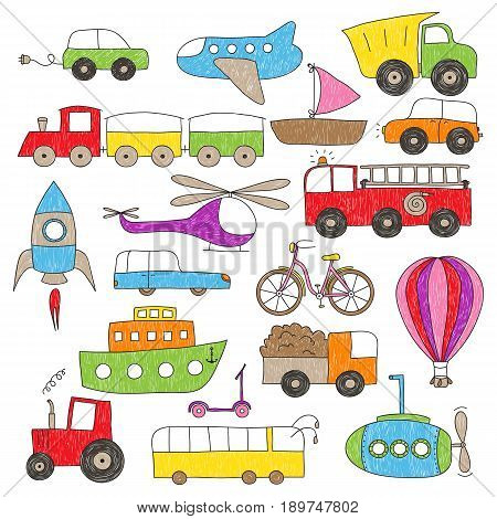 Childish colorful drawing of various toy vehicles. The coloring is imperfect hand drawn looking.