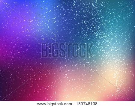 Space vector background with stars. Universe illustration. Colored cosmos backdrop with stars claster. Blue, magenta and yellow colors.