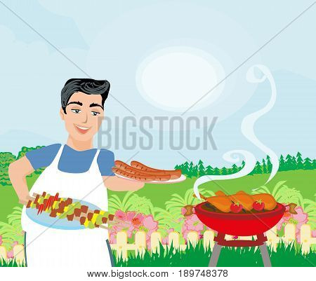 Man Cooking meat on Grill , vector illustration