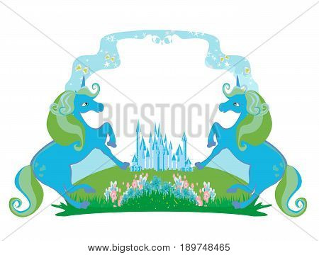 Fairytale frame with magic castle and unicorns , vector illustration