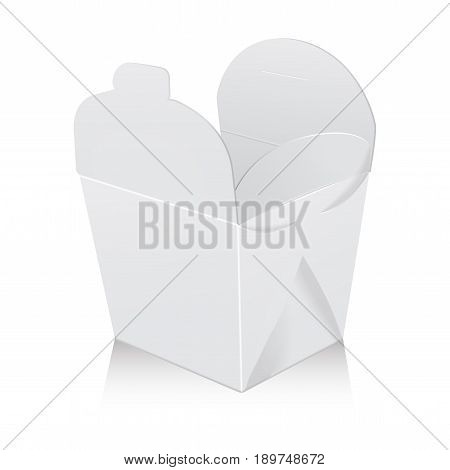 Open white blank wok box mockup. Vector 3d packaging. Carton box for asian or chinese take away food paper bag for your design