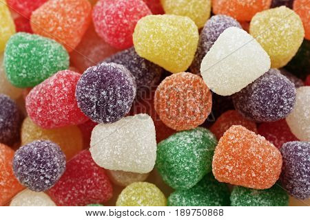A close up image of colored gumdrops