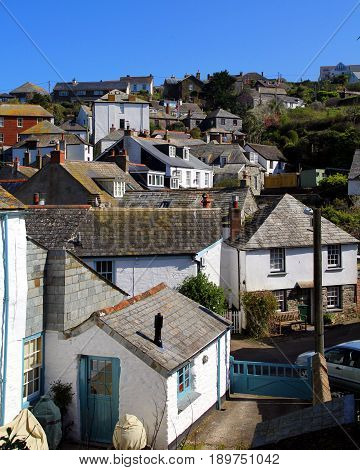 The rooftops of the picturesque Cornish fishing village of Port Isaac famous for being the location of Doc Martin