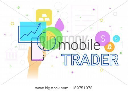 Mobile trader app on smartphone creative concept illustration. Human hand holds smartphone with bank app for shares tracking, investments, financials and brokers deal. Vendor business with application poster
