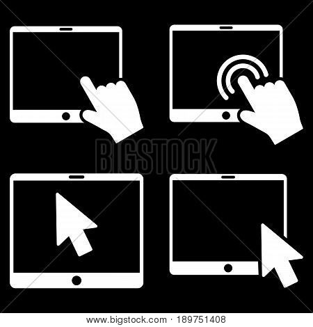 Mobile Tab Pointer vector icon clipart. Collection style is white flat symbols on a black background.