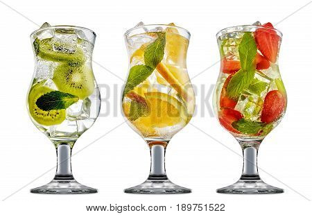 fresh fruit alcohol cocktail or mocktail in classic classic glass with ice, strawberry, kiwi, orange and mint isolated on white background
