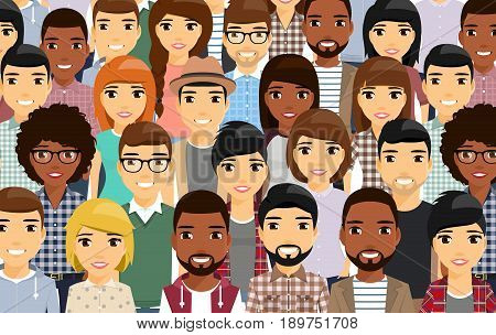 A diverse group of people. Young people were built for each other. Smile, cute. Different ethnic group. On white background in flat style.