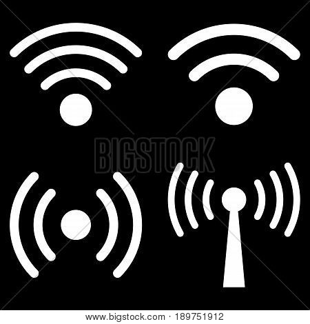 Wi-Fi Signal vector icon clip art. Collection style is white flat symbols on a black background.