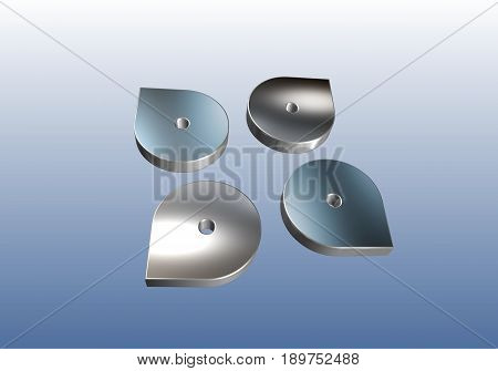 heart-shaped metal parts in quantities of four pieces of the composition in the form of a butterfly