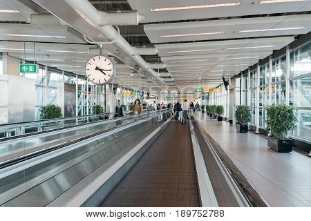 Amsterdam Netherlands - August 10 2016. Schiphol Airport. Mechanical walkways. It is the main international airport of the Netherlands