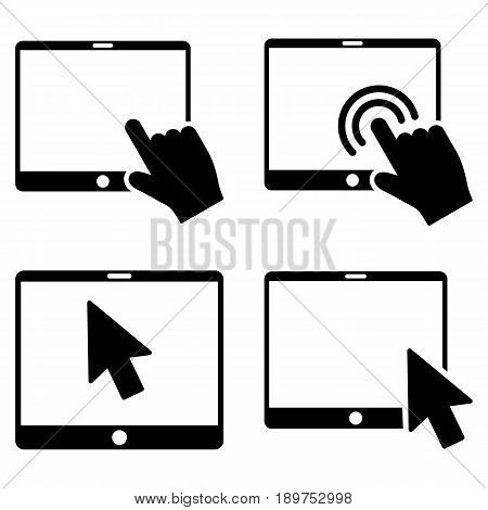 Mobile Tab Pointer vector icon clip art. Collection style is black flat symbols on a white background.