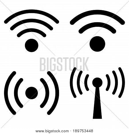 Wi-Fi Signal vector icon collection. Collection style is black flat symbols on a white background.