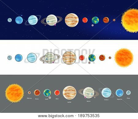 Astronomy, space, solar system infographics. Parade of planets, planetarium icon or symbol