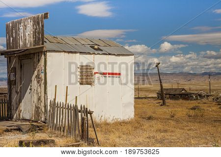 Cisco Utah USA - September 03 2016: Abandoned Post Office in the ghost town of Cisco