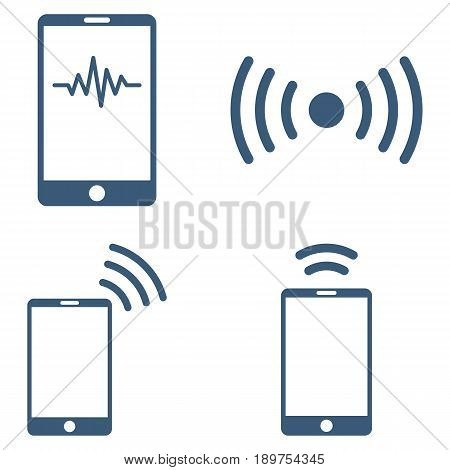 Mobile Signal vector icon clipart. Collection style is blue flat symbols on a white background.