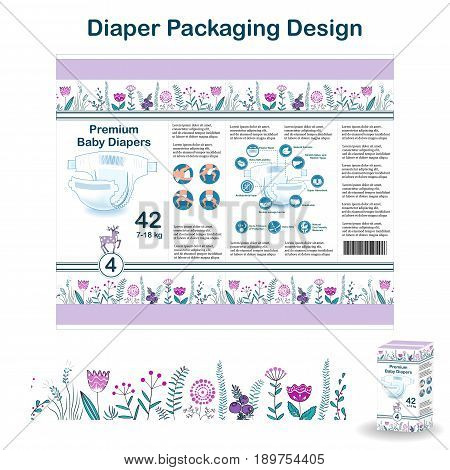 Diaper packaging design from doodle forest style collection. Nappy pakaging design for size 5, with floral border, diaper icons, and deer. Vector illustartion