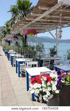 FETHIYE, TURKEY, 31ST MAY 2017 :Resturant seating along the promenade with views of fethiye in turkey, 31st may 2017