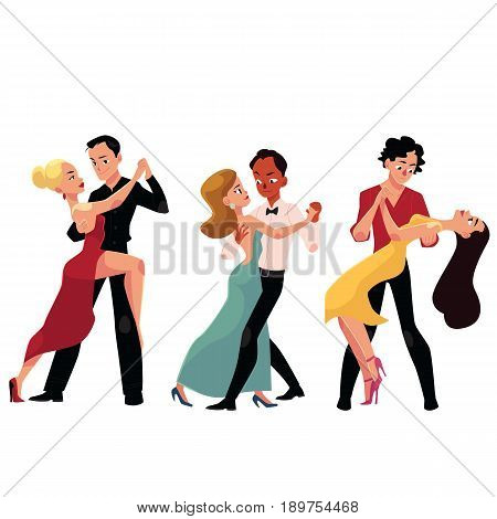 Three couples of professional ballroom dancers dancing, looking at each other, cartoon vector illustration isolated on white background. Three ballroom dance couples dancing tango, waltz, rumba