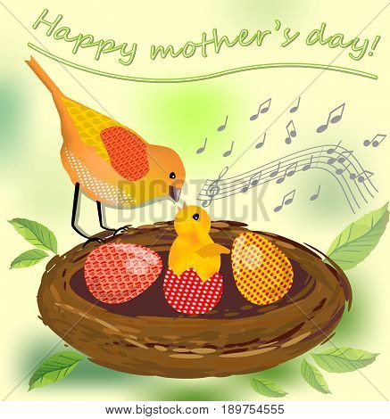 Cute image mothers day vector image with bird mother and her bird baby and colored eggs in the nest