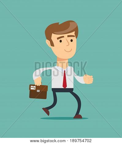 Simple cartoon of a businessman running. Stock vector illustration for poster, greeting card, website, ad, business presentation, advertisement design.