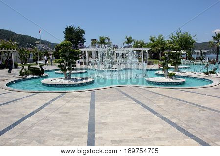 FETHIYE, TURKEY, 31ST MAY 2017: Beautiful water fountains along the promenade in the port of fethiye in turkey,231st may 2017