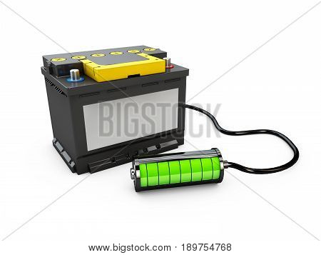 Battery accumulator car auto parts electrical supply power. 3d Illustration