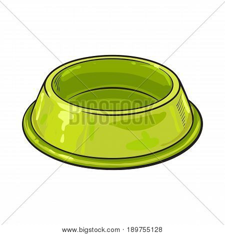 Empty green shiny plastic bowl for pet, cat, dog food, sketch vector illustration isolated on white background. Hand drawn empty bowl, plate for pet, dog, cat food