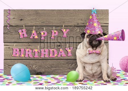 cute pug puppy dog with pink party hat and horn and wooden sign with text happy birthday on light pink background