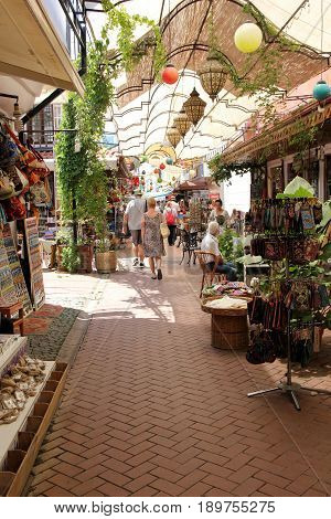 FETHIYE, TURKEY, 31ST MAY 2017: Food outlets and shops along the bazaars walkways in fethiye in turkey, 31st may 2017