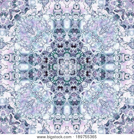 Beautiful kaleidoscopis symmetry fancy ornate blue etno hippie motive design