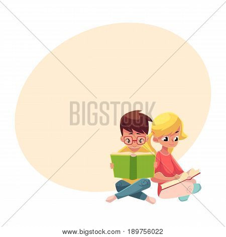 Two kids, boy in glasses and blond girl with ponytails, reading books sitting on the floor, cartoon vector illustration with space for text. Kids, boy and girl, reading books, sitting