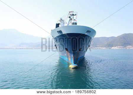 1ST JUNE 2017, FETHIYE, TURKEY : Deo Volente, a boat transporter ship in the bay of fethiye, turkey, 1st june 2017
