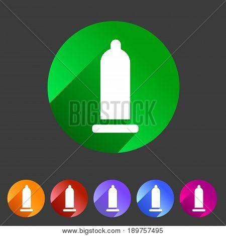 Condom preservative icon flat web sign symbol logo label set