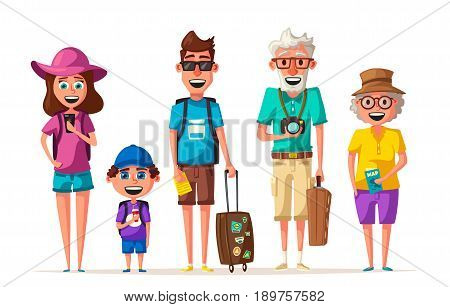 Happy family in travel. Journey of grandparents, parents and child. Cartoon vector illustration. Character design on travelers. Family having summer holidays trip