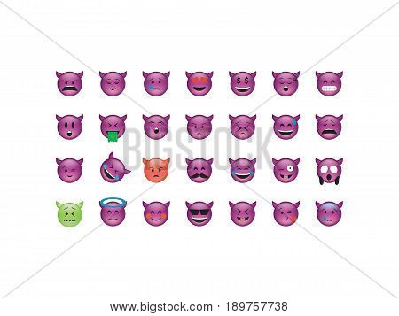 Set of devil emoticon vector isolated on white background. Emoji vector. Smile icon set. Emoticon icon web.