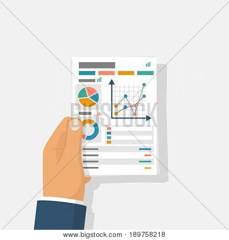 Document with charts and graphs business reports hold in hand businessman. Vector illustration flat design. Isolated on background. Paperwork concept. Data analysis, project management. Analyze graph.
