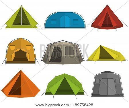 Set of colored tents for camping made in a flat style. Nine tents for tourism isolated on white background