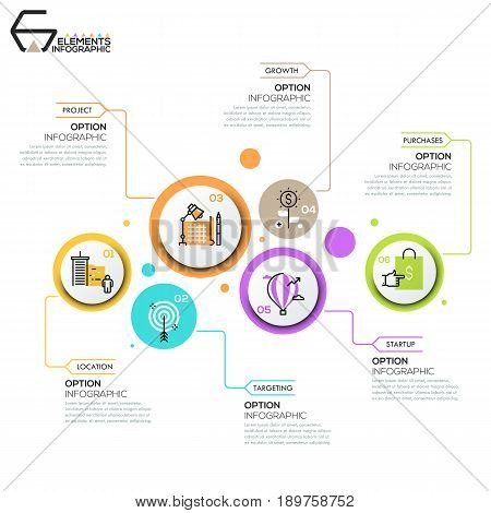 Modern infographic design layout, 6 round elements with pictograms in thin line style and text boxes. Six features of business success concept. Vector illustration for brochure, corporate website.