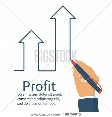 Profit concept, growing business graph. Businessman manages financial growth graph. Template investment. Vector illustration flat design. Upward chart arrow. Improve business. Financial diagram.