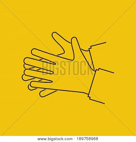 Wash hands. Silhouette black icon. Vector illustration flat line design isolated on background. Personal hygiene pictogram. Disinfection, skin care. Antibacterial washing.