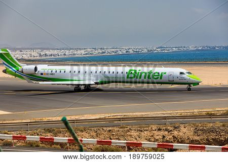 Arecife, Spain - April, 16 2017: Canadair Crj-1000 Of Binter With The Registration Ec-mox Ready To T