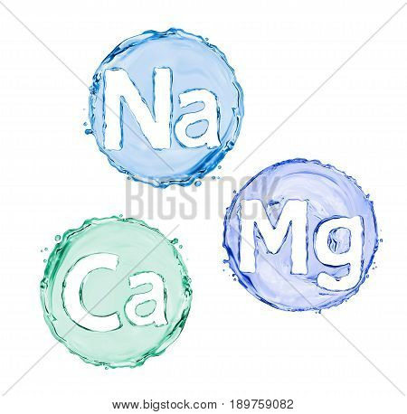 Group of chemical minerals and microelements. (Calcium Natrium Magnesium)
