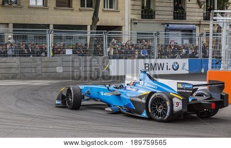 PARIS - 20 May 2017: The Formula E car of the Swiss racing driver S. Bueni which won the Paris ePrix on the Invalides Circuit.This car is only electric-powered.